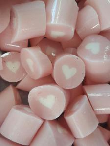 Wedding pale pink lollies with white heart centre