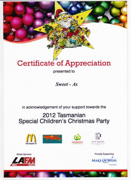 2012 Tasmanian Special Children's Christmas party Thank you